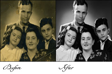 digital picture restoration, digital photograph restoration, black and white Photo restoration