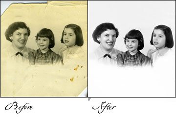 outsource picture restoration, black and white photograph restoration, custom Photo restoration job, custom picture restoration